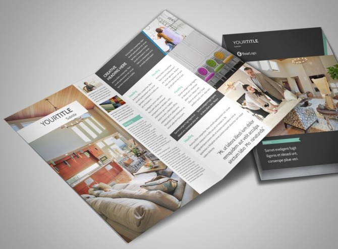 furniture store home office furnishing shop half fold brochure