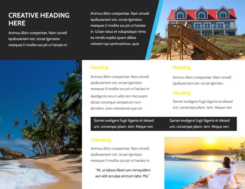 Tropical Villa Rentals Brochure Template Preview 3