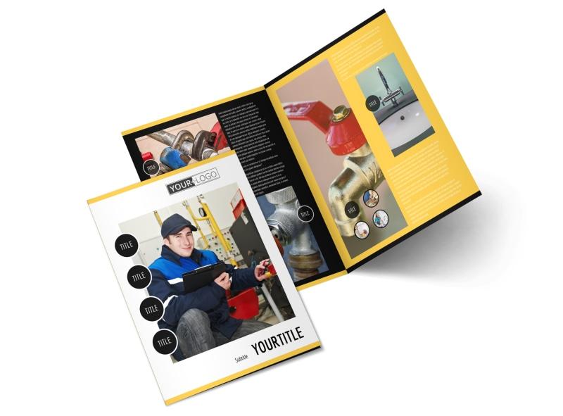 Plumbing Services Bi-Fold Brochure Template 2