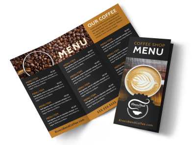 Coffee shop logo and menu design vector brochure template. Coffee.