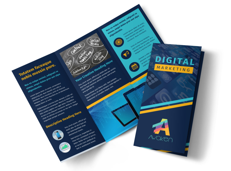 Digital Marketing Agency Tri-Fold Brochure Template