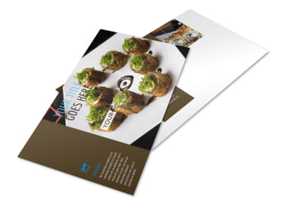 Sushi Restaurant Postcard Template preview