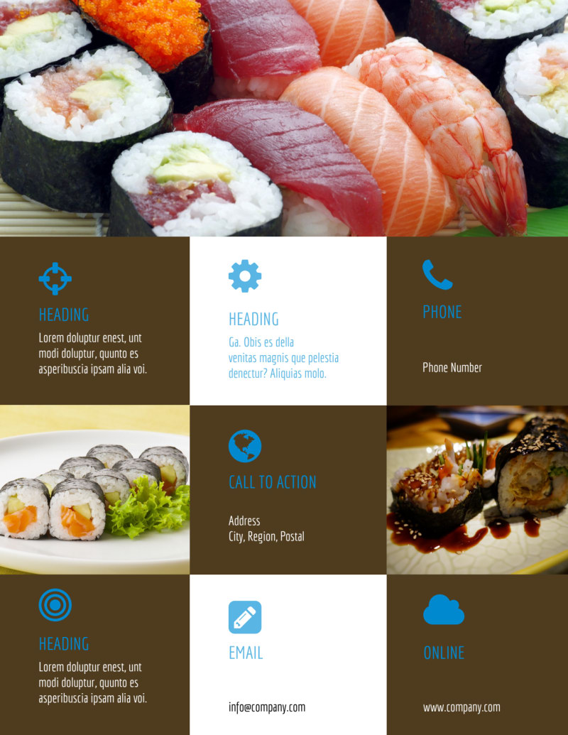 Sushi Restaurant Flyer Template Preview 3