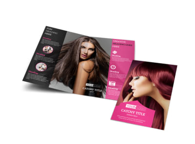 Stylish Hair Salon Bi-Fold Brochure Template preview