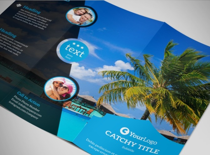 island brochure template - getaway beach resort tri fold brochure template
