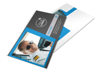 Above The Clouds Airline Postcard Template 2