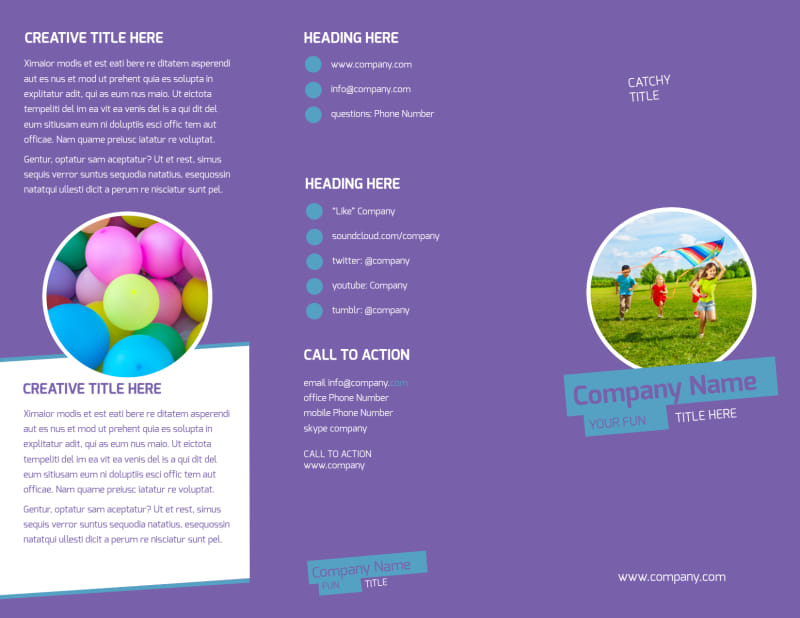 Party Activities Brochure Template Preview 2