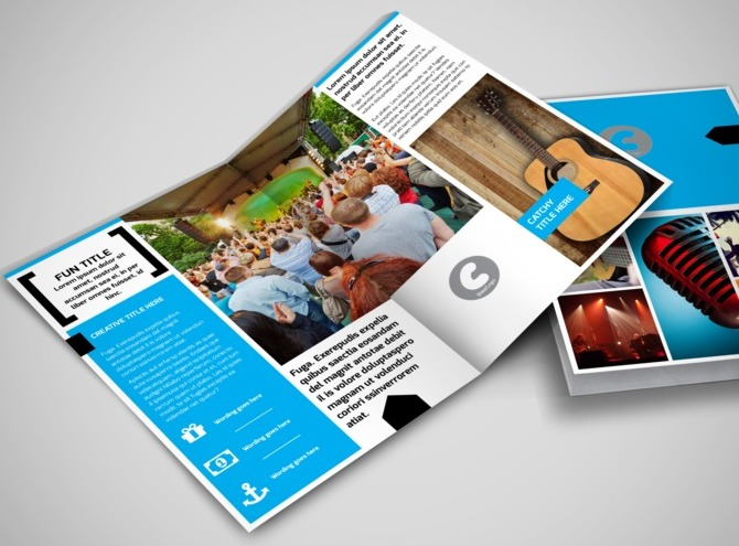 music brochure templates - music band info bi fold brochure template