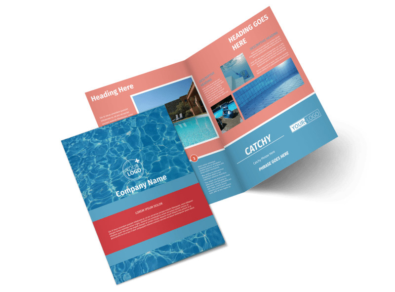 Pool Cleaning Service Bi-Fold Brochure Template 2