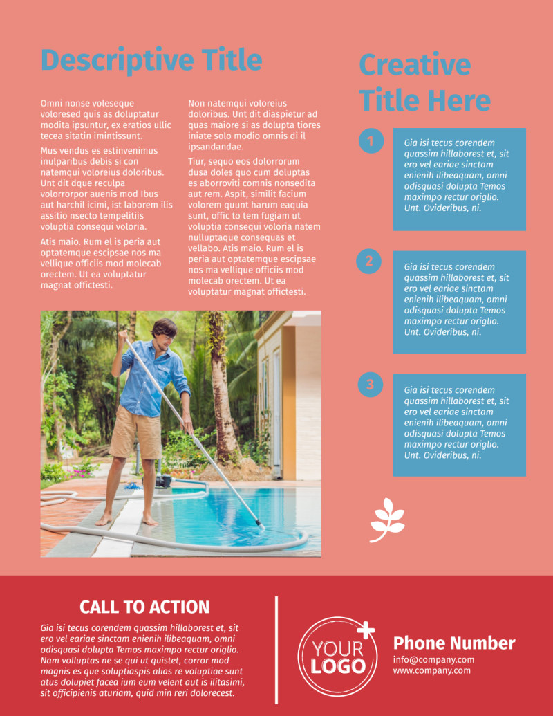 Pool Cleaning Service Flyer Template Preview 3