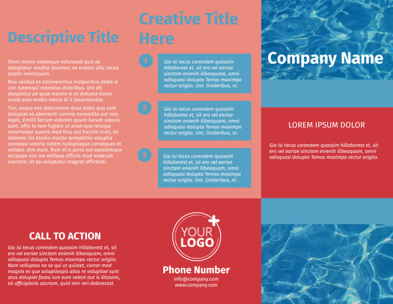 Pool Cleaning Service Brochure Template Preview 2