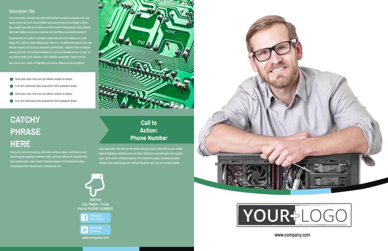 Computer Repair Shop Brochure Template Preview 2