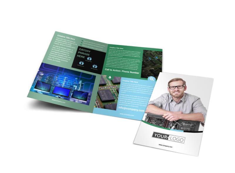computer brochure templates - computer repair bi fold brochure template