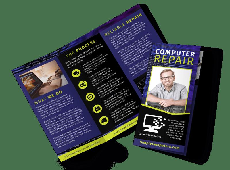 Computer Repair Shop Brochure Template Preview 1