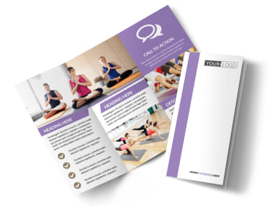Pilates & Yoga Tri Fold Brochure Template preview