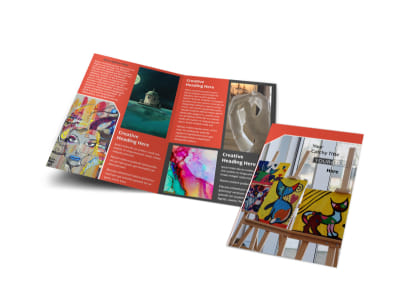 City Art Exhibition Bi-Fold Brochure Template preview