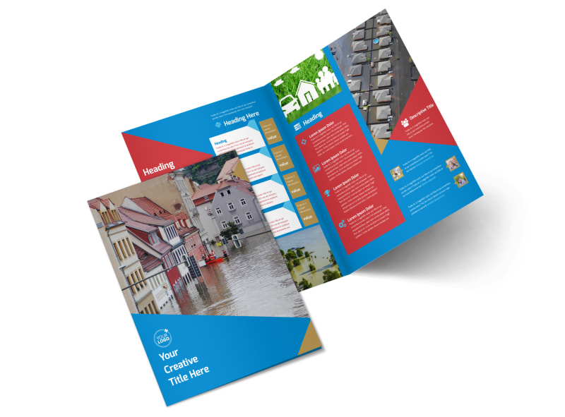Flood Insurance Bi-Fold Brochure Template 2
