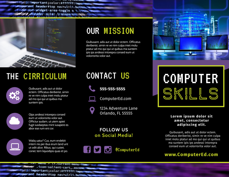 Computer Education Brochure Template Preview 2