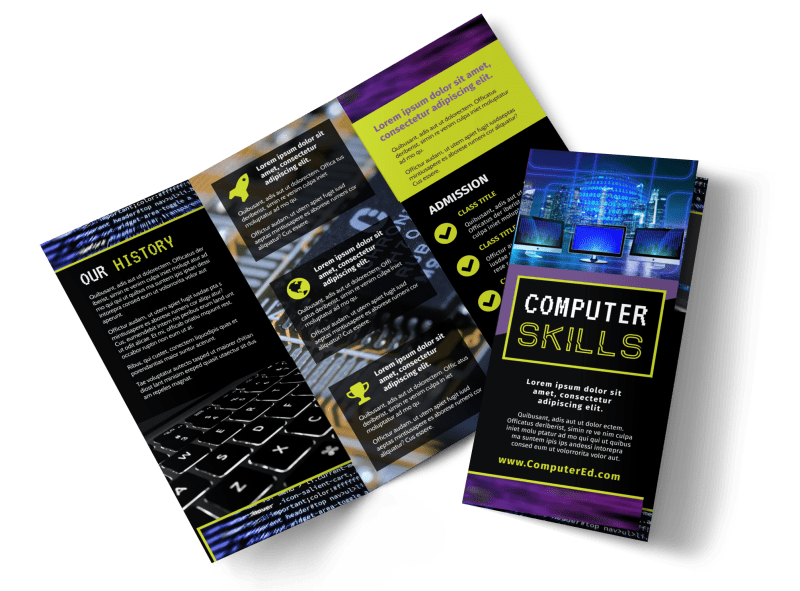 Computer Education Brochure Template Preview 1