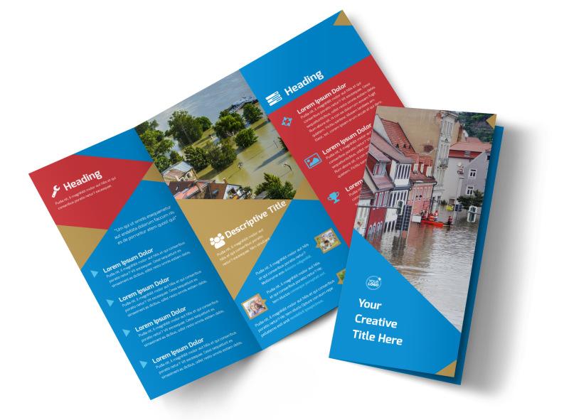Flood Insurance Tri-Fold Brochure Template