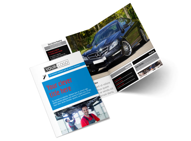 Automotive Repair Center Bi-Fold Brochure Template 2
