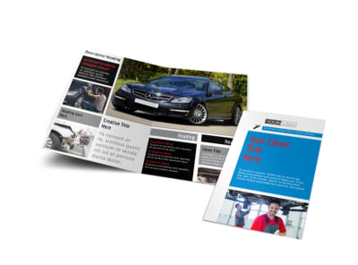 Automotive Repair Center Bi-Fold Brochure Template preview