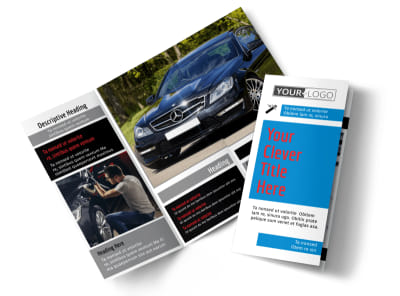 Automotive Repair Center Tri-Fold Brochure Template preview