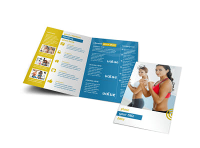 Core Fitness Gym Bi-Fold Brochure Template preview