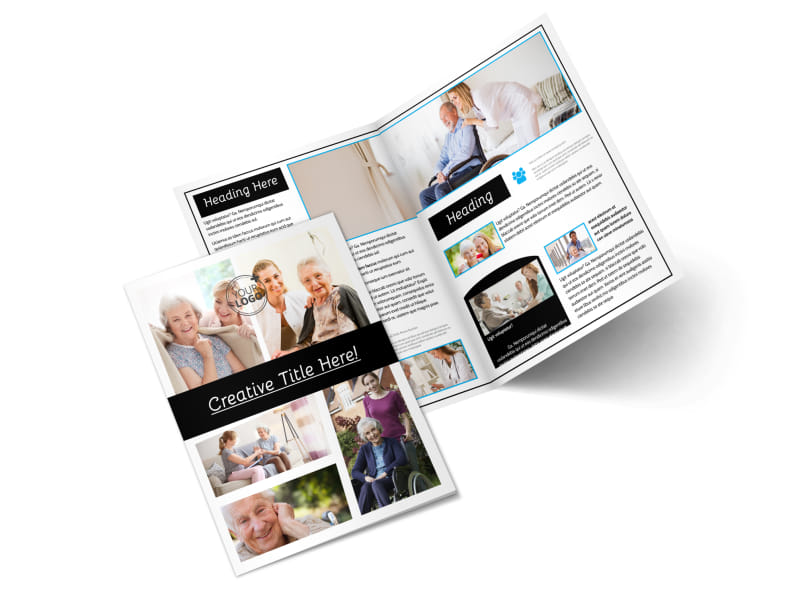 Elder care nursing home bi fold brochure template for Home care brochure template