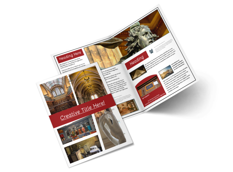 Museum Information Bi-Fold Brochure Template 2