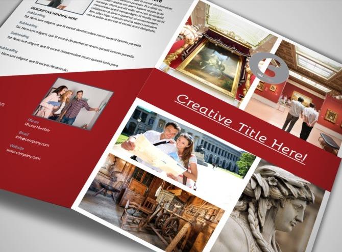 museum information bi fold brochure template. Black Bedroom Furniture Sets. Home Design Ideas