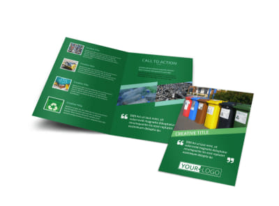 Green Living & Recycling Bi-Fold Brochure Template preview
