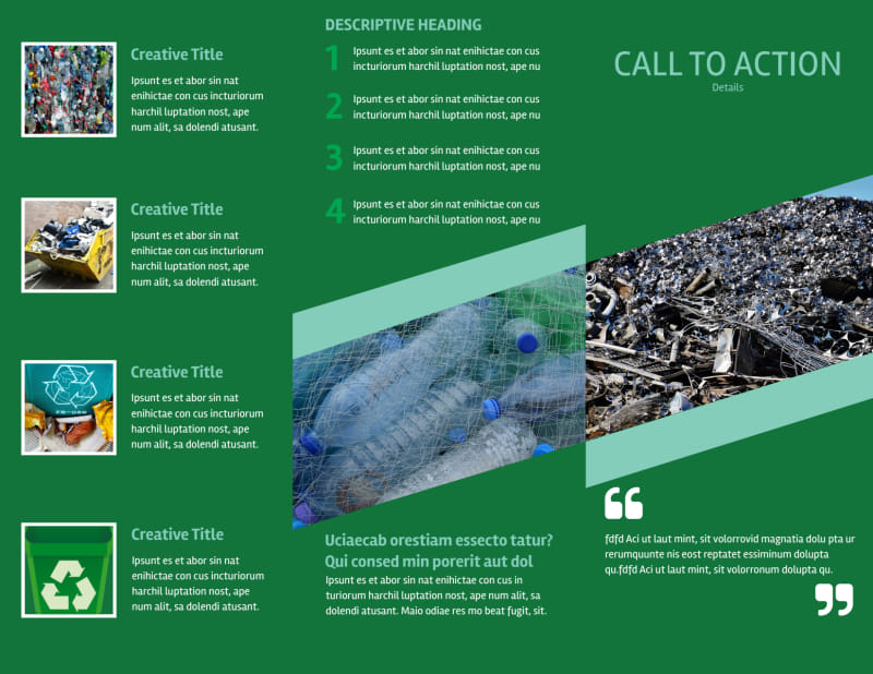 Green Recycling Service Brochure Template Preview 3
