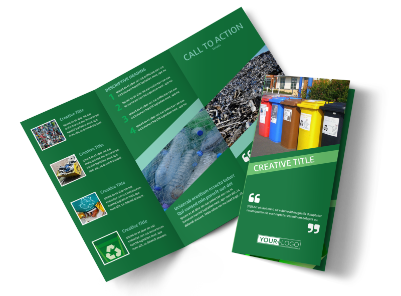 Green Recycling Service Brochure Template Preview 1