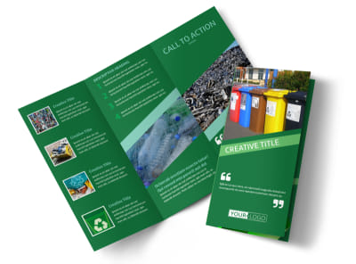 Green Living & Recycling Tri Fold Brochure Template preview
