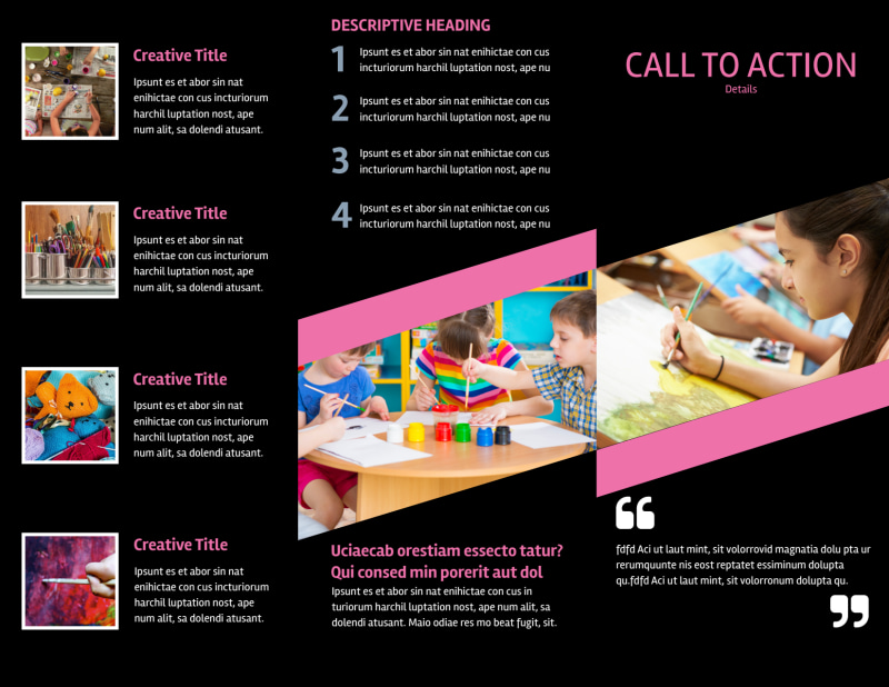 Arts & Craft Lessons Brochure Template Preview 3