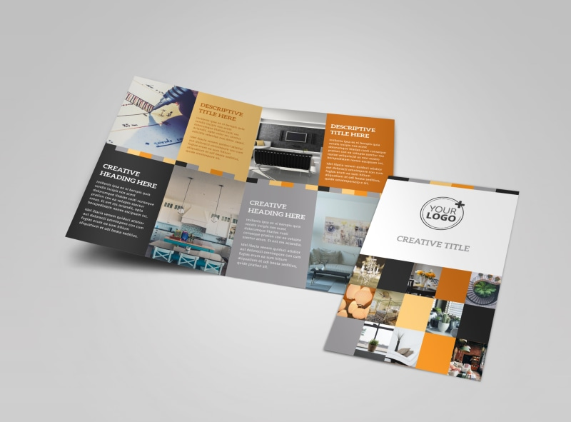 Interior designer bi fold brochure template for Creative brochure template