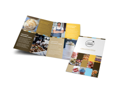 Smell Good Bakery Bi-Fold Brochure Template preview