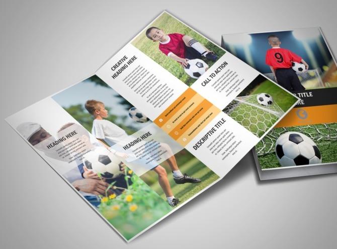 youth soccer bi fold brochure template. Black Bedroom Furniture Sets. Home Design Ideas