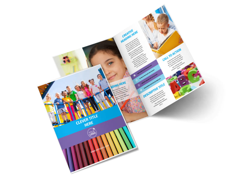 First-School Preschool Activities Bi-Fold Brochure Template 2