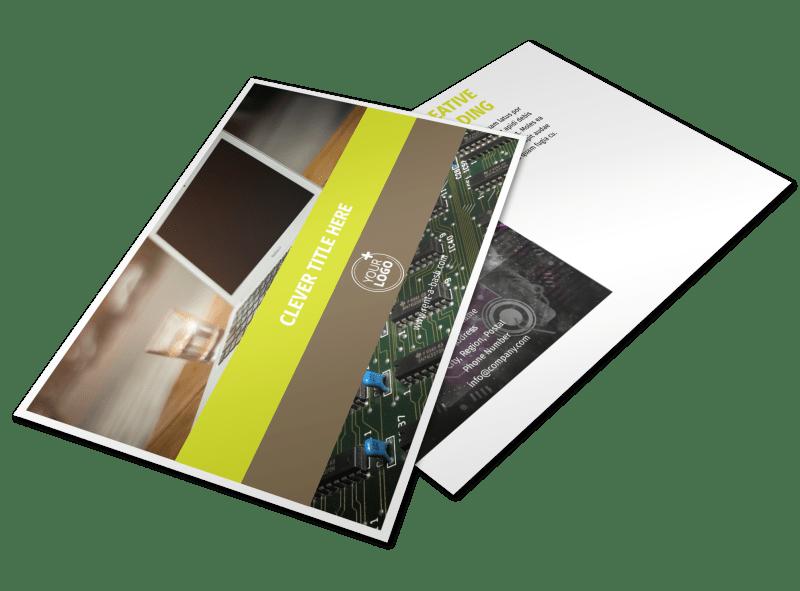 Computer Technology Manufacturer Postcard Template Preview 1