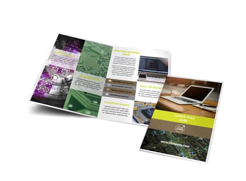 High-Tech Manufacturing Company Bi-Fold Brochure Template