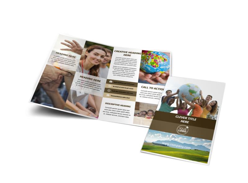 African Mission Trip Bi-Fold Brochure Template