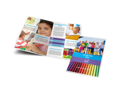 First-School Preschool Activities Bi-Fold Brochure Template preview