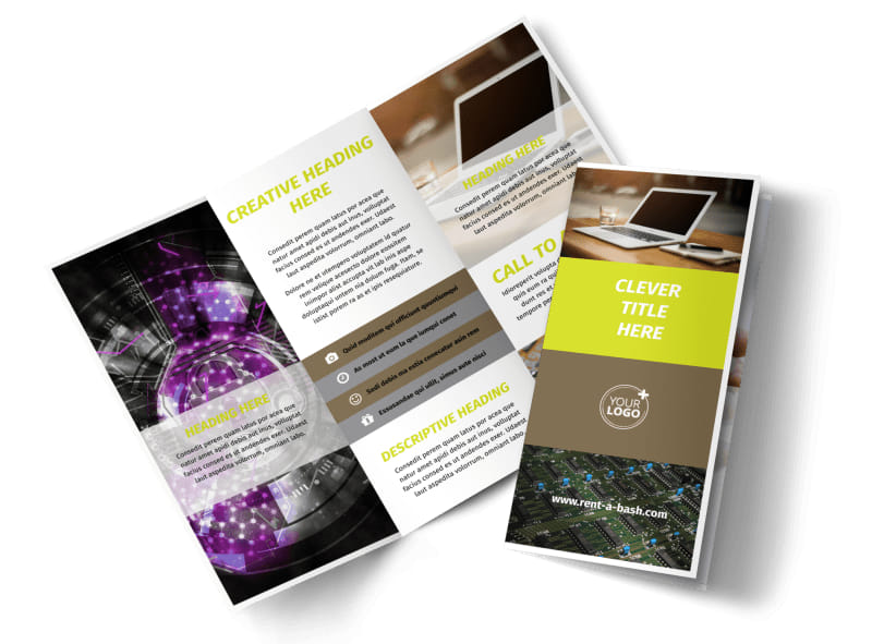 computer brochure templates - computer technology manufacturer brochure template