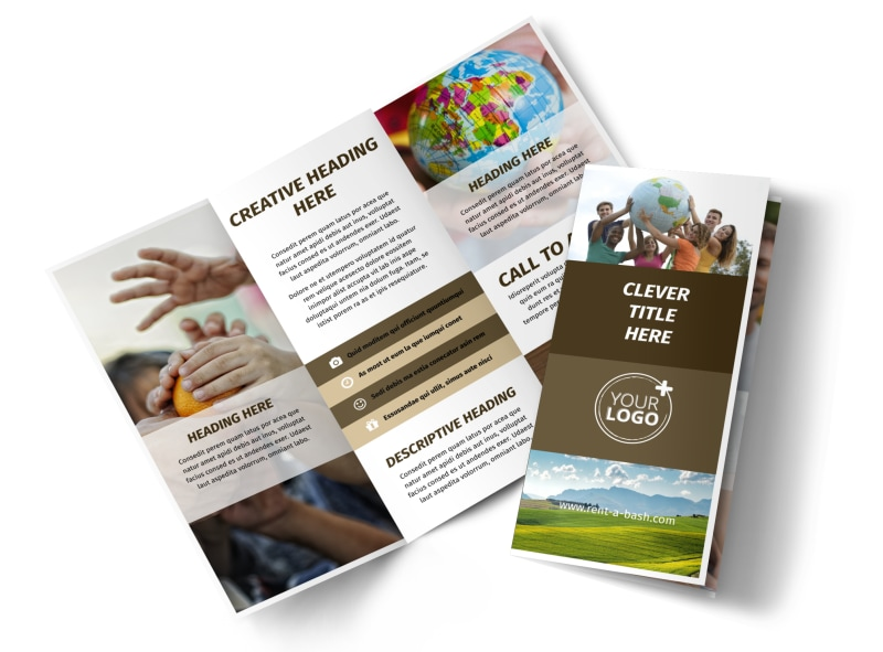 African Mission Trip Tri-Fold Brochure Template