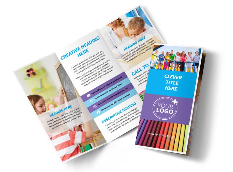 First-School Preschool Activities Tri-Fold Brochure Template