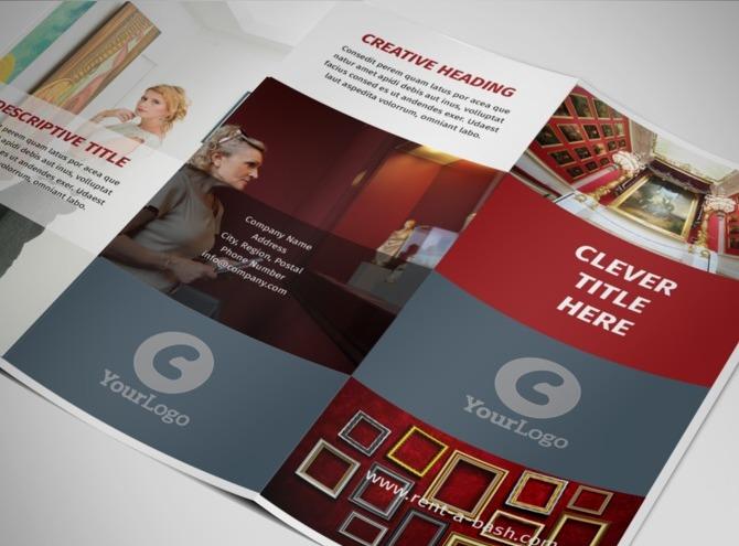 european art museum tri fold brochure template. Black Bedroom Furniture Sets. Home Design Ideas