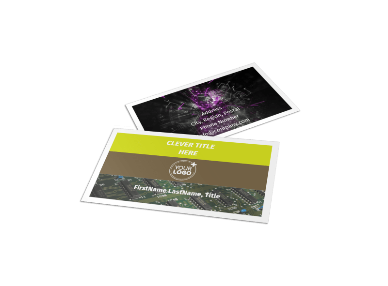 Computer Technology Manufacturer Business Card Template Preview 1