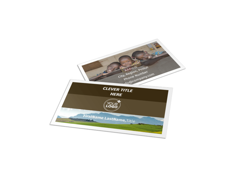 African Mission Trip Business Card Template Preview 1